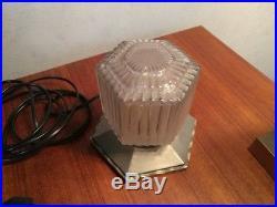Lampe veilleuse art deco signe P. D'AVESN building bronze chrome verre skyscrape