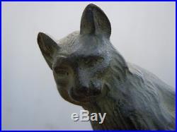 Lampe veilleuse sculpture bronze Chat signé Ch Yrand époque Art Déco