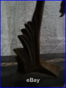 Lampe verre & sculpture en bronze au héron signé Gual circa 1930 french art déco