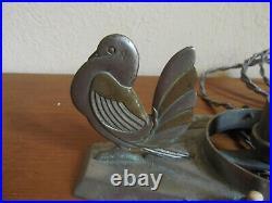 Lampes Art Deco Aux Oiseaux En Bronze Rare En Paire Pour Verrerie Muller Degue