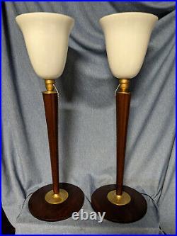 Lampes PAIRE de 2 LAMPES MAZDA ou autre art déco ACAJOU vintage avec inter a tir