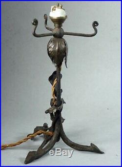 Louis VAN BOECKEL 1857-1944 PETIT PIED DE LAMPE FER FORGÉ ART-DÉCO BELGIQUE