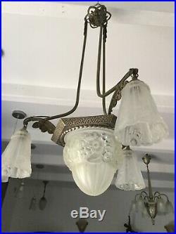Lustre Art Deco Lampe 1930 Tulipe No Muller Daum Gilles Robert