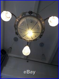 Lustre Art Deco Lampe 1930 Tulipe Signée Degue No Muller Daum