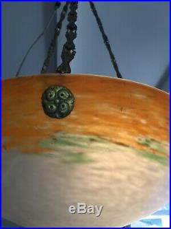Lustre Art Deco Lampe 1930 Tulipe Vasque 41 CM No Muller Daum Degue Schneider