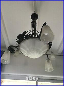 Lustre Art Deco Lampe 1930 Tulipe Vasque Signée Des Hanots No Degue Muller