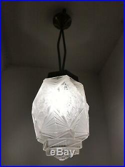 Lustre Art Deco Lampe French Tulipe Applique Plaque Muller Daum Degue Hettier