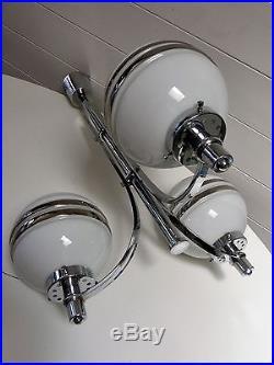 Lustre Lampe Acier Chrome Globe Verre Moderniste Vintage Art Deco Chandelier