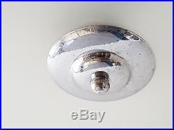 Lustre Plafonnier Lampe Art Deco 1920 1930 Verre & Chrome Vintage 20s 30s