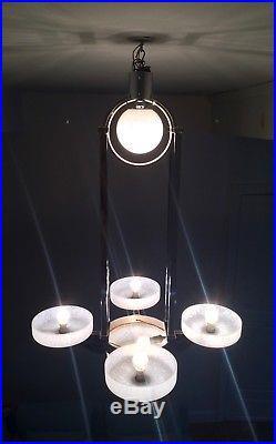 Lustre moderniste Art Déco, Tulipe pâte de verre Métal chrome Suspension Lampe