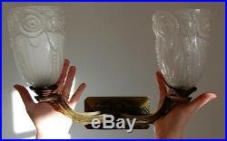 MAGNIFIQUE Applique, LAMPE ART DECO BRONZE TULIPE BACCARAT/ HETTIER ET VINCENT