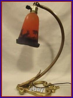 MULLER FRERES LAMPE ART DECO NOUVEAU PATE DE VERRE PIED COEUR BRONZE lamp degue