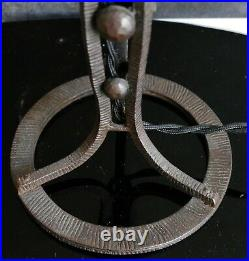 MULLER FRÈRES Lampe Art Déco fer forgé obus signé verre pressé couleur 1930
