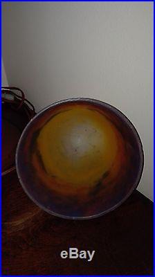 MULLER lampe de table ou bureau art deco pate verre couleur idem Degué Noverdy