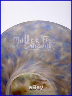 Müller frères chapeau de lampe veilleuse, pâte de verre nuage à cupule Art déco