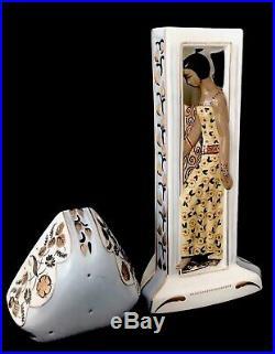 Maison Duchaussy Lampe Brûle-parfum En Porclaine Polychrome Art Déco