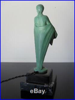 Max Le Verrier Lampe femme modèle Fleurs. Art Deco
