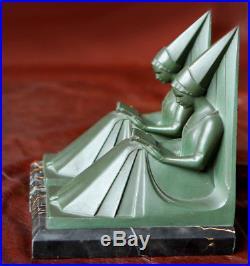 Max Le Verrier Serre Livres Art Deco Moyen Age Lampe Serre-Livres Femmes