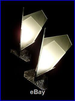 Miracle Reims Paire De Lampes Modernistes Art Déco Fer Forgé Et Verre Sablé