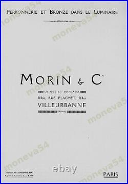 Morin & Degué Lampe Art Déco Cataloguée Fer Nickelé & Dôme En Verre Pressé 1930