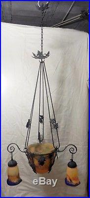 lampe art deco mulaty lustre suspension fer forge pate de verre 1920 lampe tulipe no muller. Black Bedroom Furniture Sets. Home Design Ideas
