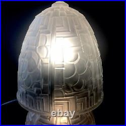 Muller Frère Luneville Importante Lampe Champignon Verre Moulé Pressé 44 Cm