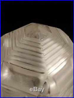 Muller Freres Grande Lampe Art Déco En Fer Forgé Et Obus En Verre Pressé 1930