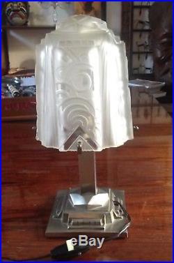 Müller Frères, Lampe art deco, pied en bronze patiné argenté