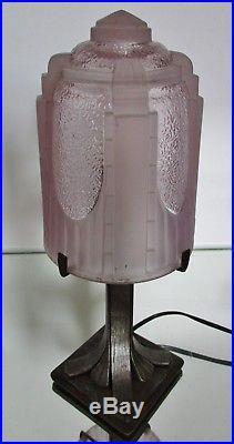 Muller Freres Petite Lampe Art Deco Fer Forge & Obus Verre Pressé Skyscraper