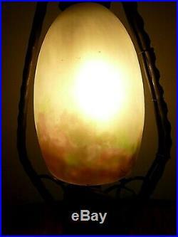 Muller Frères signé, très jolie lampe de table, pâte de verre