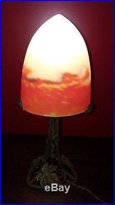 Muller Fres Luneville, lampe pâte de verre, obus, idem Degué Schneider