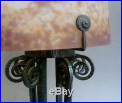 Muller Luneville Grande Lampe Pate De Verre Et Fer Forge Art Deco 1930