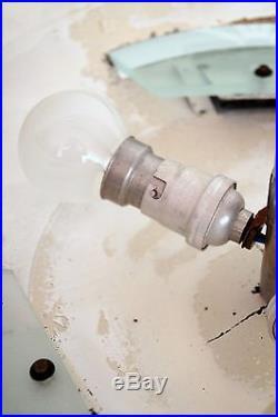 Original français Art Déco Plafonnier Lampe à suspension Verre En Aluminium