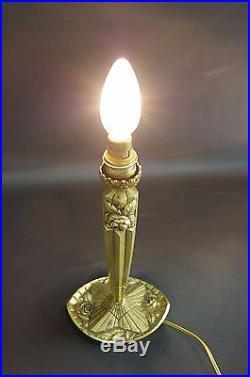 PIED DE LAMPE ART DECO BRONZE DORÉ ROSES EN RELIEF H 25,5 cm