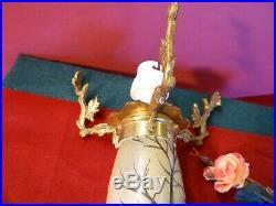 PIED de LAMPE champignon en Pate de verre, signéLEGRAS, paysage hivernal