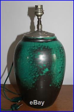 PRIMAVERA Pied de lampe Art Deco émaux verts et noirs