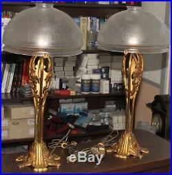 Paire De Grande Lampe Art Deco Bronze Et Verre Annee 50