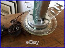 Paire De Lampe Art-Déco Design 1930 Verre Et Aluminium
