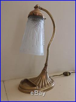 Paire De Lampe Art Deco En Bronze Signee Muller Freres Luneville. 1919-1933