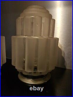Paire De Lampe Des Années 30/40 Skyscraper Art Deco Old Lamp wolkenkratzer