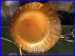 Paire De Lampes Art Deco En Verre Brun Pressé Depoli
