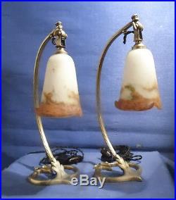 Paire De Lampes Articulées En Bronze Et Tulipes Pte De Verre Signées Muller