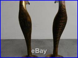 Paire De Pieds De Lampe Bronze Serpents Art Deco