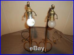 Paire De Pieds De Lampes Bronze Laiton Was Benson Arts Crafts Art Deco Nouveau