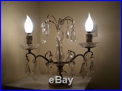 Paire Girandoles Bronze Dore Cristal Deco Art Table Louis XVI Lampe Luminaire