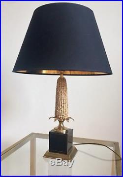 Paire Lampes Maïs Abats Jours Noirs Art Deco Moderniste 1930 Maison Charles