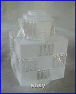 Paire ancienne lampe verre depoli suspension lamp building skyscraper art deco