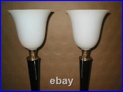 Paire de 2 Belles lampes art déco style MAZDA ou autre ACAJOU ET LAITON bois mas