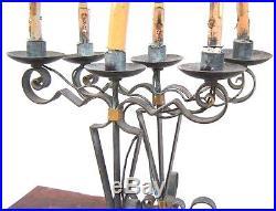 Paire de Lampes Fer Forgé Art Deco Piguet Poillerat Raymond Subes candlesticks