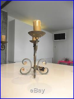 Paire de bouts de table lampes fer forgé Dlg Poillerat Prou Sconce artdeco 40-50